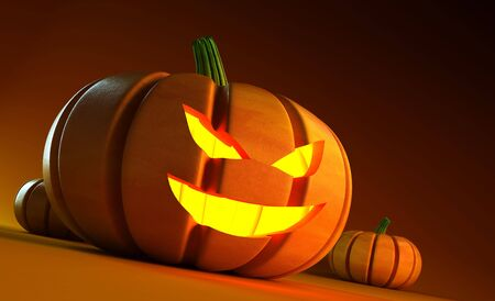 glowing halloween pumpkin 3d rendering photo