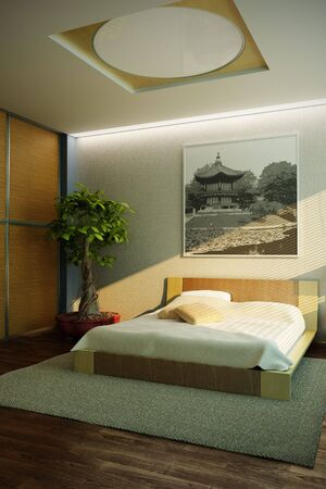 minimal style: japan style bedroom interior 3d rendering Stock Photo