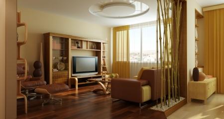 modern lounge room interior 3d rendering Stock Photo - 5929885