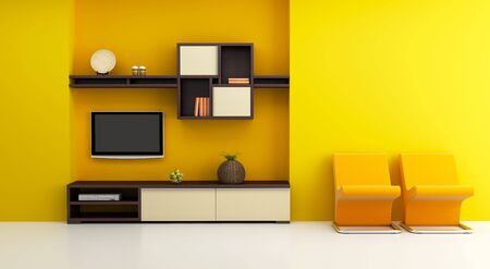 rendered: lounge room interior with bookshelf and TV 3d rendering