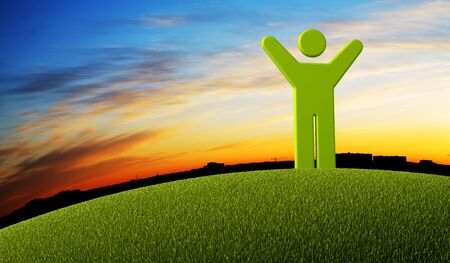 tranquillity: symbol man standing on green Earth