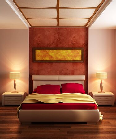 bedroom interior: modern style bedroom interior 3d rendering Stock Photo