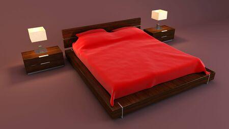 red bedroom inter 3d rendering Stock Photo - 6078718
