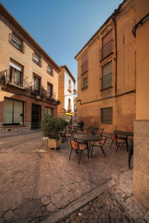 toledo town: street restaurant in historical part of Toledo, Spain