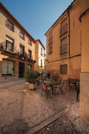 toledo town: street restaurant in historical part of Toledo, Spain
