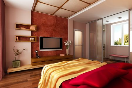 modern style bedroom interior 3d rendering Stock Photo - 6322160