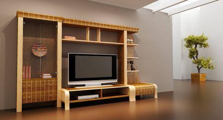 3d interior with modern bookshelf with TV photo