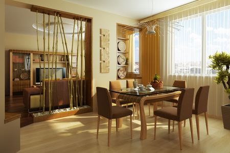 modern dinner room interior 3d rendering photo