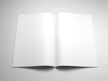 open spaces: open book with blank pages 3d rendering Stock Photo