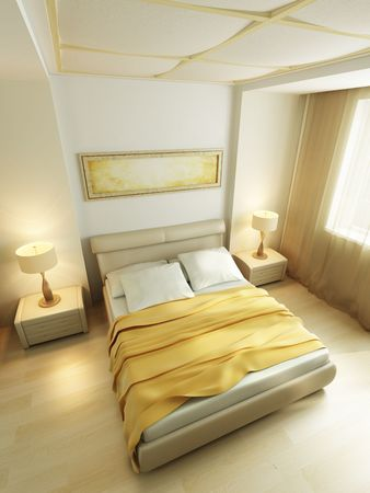 modern style bedroom interior 3d rendering photo