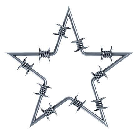 barbed: barbed wire star-shaped 3d rendering