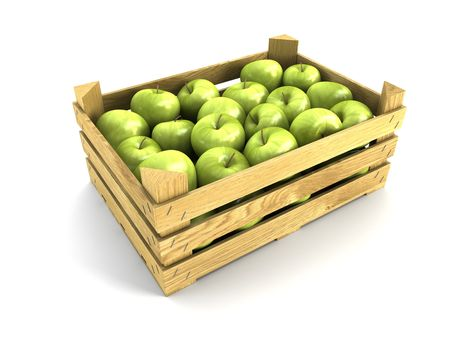 wooden box: wooden crate full of apples. Isolated 3d rendering