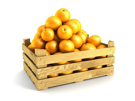 colour box: wooden crate full of oranges. Isolated 3d rendering