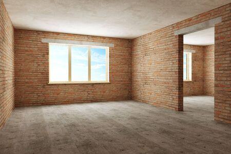 new empty room 3d rendering photo