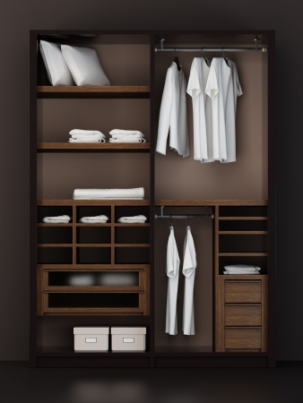 clothing rack: Inside the modern closet 3d rendering Stock Photo