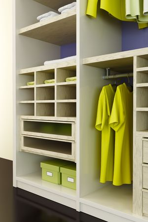 Inside the modern closet 3d rendering photo