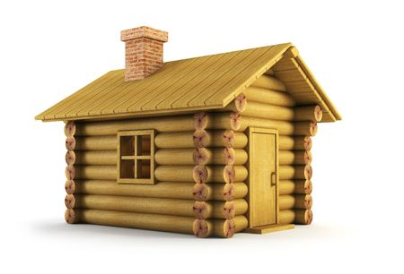 isolated wooden log-house 3d rendering photo