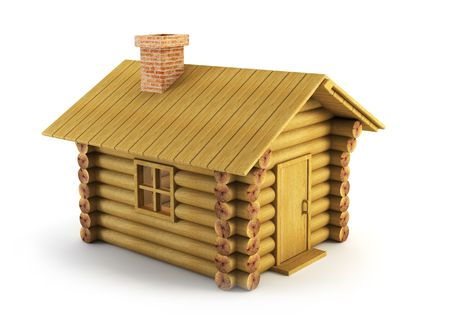 log cabin: isolated wooden log-house 3d rendering