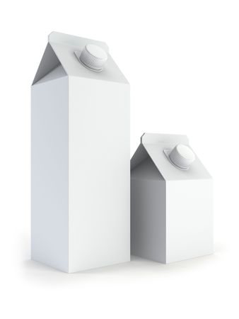 isilated: two isilated blank milk box 3d rendering Stock Photo