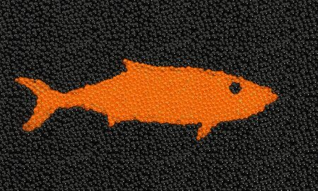 expensive food: fish silhouette made from caviar, 3d rendering