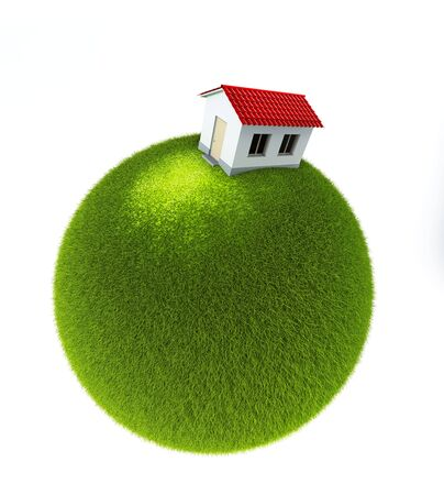 house on a small green planet. Isolated 3d rendering photo