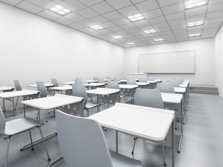 light classroom: modern white classroom. 3d rendering