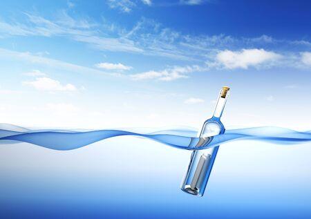 Mensaje en una botella. representación 3D
