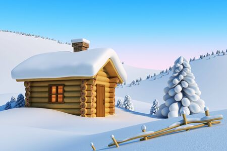 log cabin in snow: log house and fir-tree in snow-drift mountain landscape