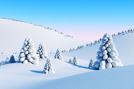 winter landscape with fir trees, 3d rendering Stock Photo - 7150804