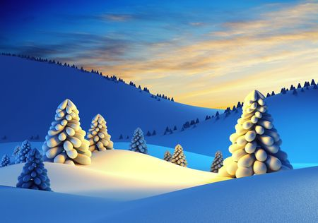 montañas nevadas: paisaje de invierno con árboles de abeto, representación 3d Foto de archivo