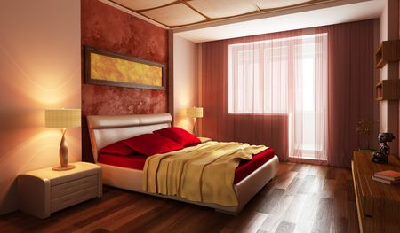 residences: modern style bedroom interior 3d rendering Stock Photo