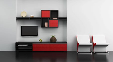 lounge room interior with bookshelf and TV 3d rendering photo