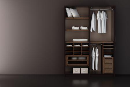 ropa colgada: Dentro del armario moderno representaci�n 3d Foto de archivo