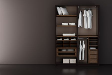 laundry hanger: Inside the modern closet 3d rendering Stock Photo
