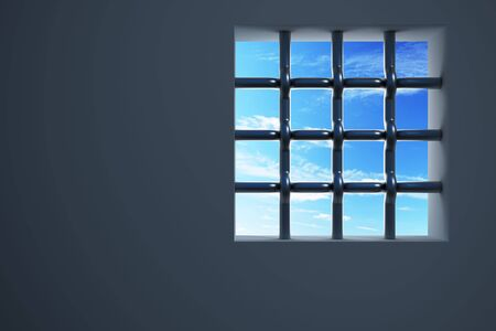 confinement: prisons window 3d rendering