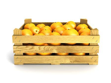 naranjas: cajas de madera lleno de naranjas. Aislado de la representaci�n 3d