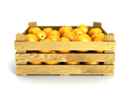 crate: wooden crate full of oranges. Isolated 3d rendering