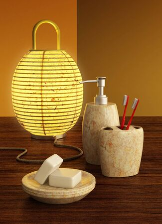 3d rendering still life with lamp and bathroom accessories photo