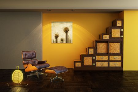 living room design: asian style interior 3d rendering Stock Photo