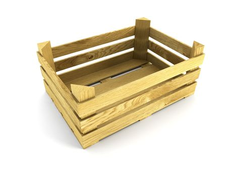 empty wooden crate. Isolated 3d rendering photo