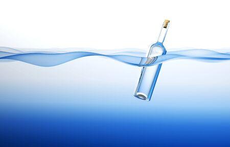 Bottle in the Ocean. 3d rendering Stock Photo - 7318888