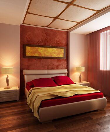 modern style bedroom interior 3d rendering Stock Photo - 7711185