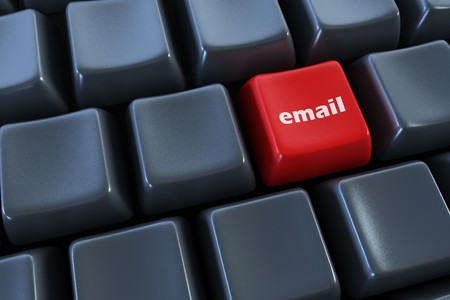 keyboard with email button 3d rendering photo