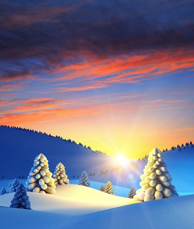 snowy hill: winter landscape with fir trees, 3d rendering