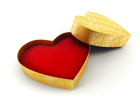 bestowal: open valentines gift box, isolated 3d rendering