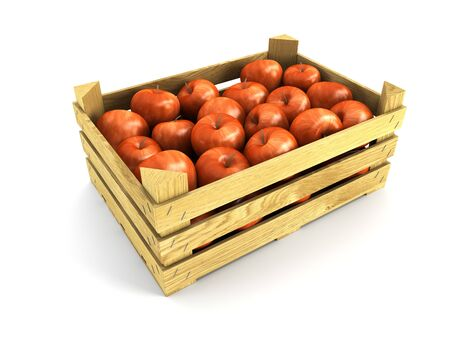 crate: wooden crate full of apples. Isolated 3d rendering