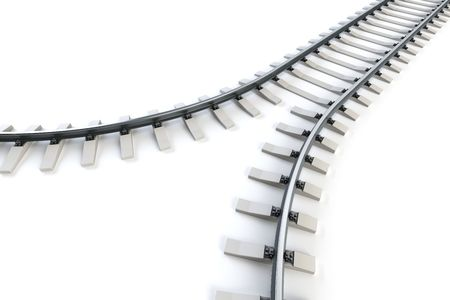 diverging railway. isolated 3d rendering photo
