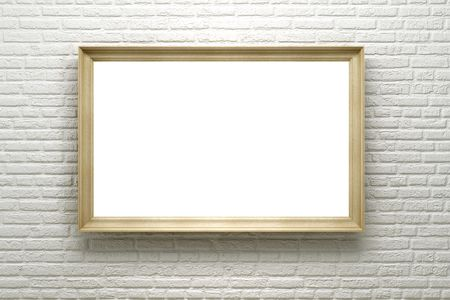blank frame in the gallery, 3d render photo