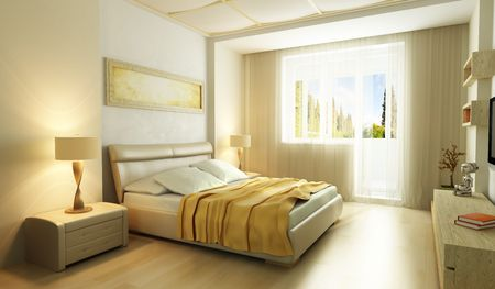 interior design living room: modern style bedroom interior 3d render