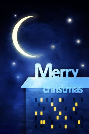 Merry Christmas greeting card, 3d render photo
